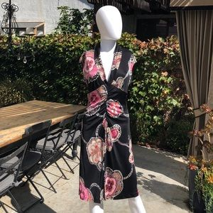 Trina Turk 100% Silk Black Dress w. Pattern Sz6